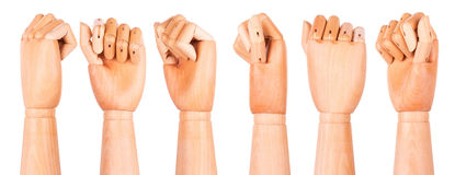 Closeup of right wooden hand - clenched fist Royalty Free Stock Photography
