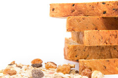 Closeup rim of cereal and black sesame bread stacking by selecti Royalty Free Stock Images