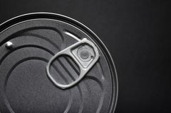 Ring pull. Closeup of ring pull opener on food tin can with space for copy stock photo