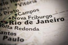 Rio de Janeiro on map. Closeup of Rio de Janeiro, Brazil on a world map Royalty Free Stock Photos