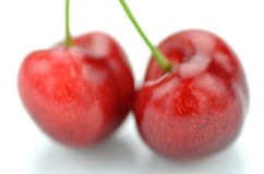 Closeup of ripe, fresh and sweet cherries isolated on white Royalty Free Stock Photography