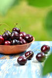Closeup of ripe, fresh and sweet cherries in wicker basket on table Royalty Free Stock Image