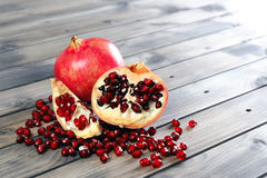 Closeup of ripe pomegranate fruit Stock Photography