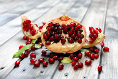 Closeup of ripe pomegranate fruit Stock Image