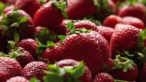 Closeup of ripe strawberries. Sliding video stock video