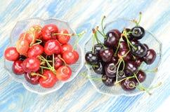 Closeup of ripe and sweet cherries Stock Photos