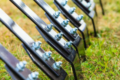 Closeup of ripper machinery rods with screws Royalty Free Stock Photos