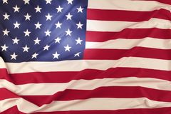 USA flag detail. Closeup of rippled American flag Royalty Free Stock Photography