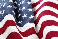 USA flag detail. Closeup of rippled American flag Royalty Free Stock Photos