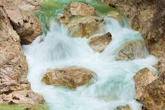 Closeup of river in waterfal Royalty Free Stock Images