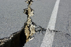 Closeup of Road Cracks Following Massive Kaikoura Earthquake, Ne Stock Photo