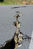Closeup of Road Cracks Following Massive Kaikoura Earthquake, Ne royalty free stock image