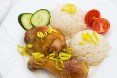 Closeup of roasted chicken with rice Stock Images