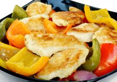 Closeup of roasted fish and capsicum Royalty Free Stock Images