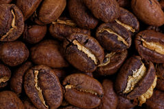 Closeup Roasted Whole Coffee Beans Royalty Free Stock Photos