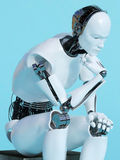 Closeup of robot man in thinking pose. Royalty Free Stock Photography