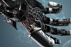 Closeup robotic arm mech details. Closeup robotic arm mechanism. Futuristic background and design elements.3d rendered image Stock Photography