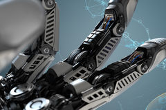 Closeup robotic arm mechanism. Futuristic background and design elements.3d rendered image Royalty Free Stock Images