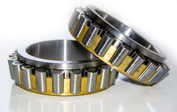 Closeup of roller cages of a double-row tapered roller bearing hub unit. With selective focus royalty free stock photo