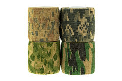 Closeup rolls of fabric camouflage pattern stretchable bandage t Royalty Free Stock Photos