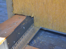 Closeup on Roof Corner Insulation and Waterproofing. Royalty Free Stock Photos