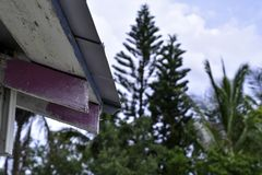 Closeup of roof rafters on an old structure royalty free stock photo
