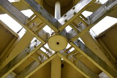 A closeup of the roof trusses in an observation tower. stock image