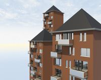 Closeup roofs apartment building Royalty Free Stock Image