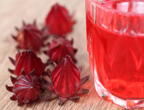 Closeup of roselle with drink Stock Photography