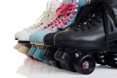 Closeup row of quad roller skates Stock Photos