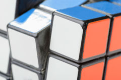 Closeup of Rubik's Cube. KIEV, UKRAINE - DECEMBER 26, 2014: Macro detail of a Rubik's cube. Rubik's Cube on a white background. Rubik's Cube invented by a royalty free stock images