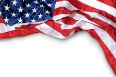 Ruffled American flag. Closeup ruffled American flag isolated on white background stock images
