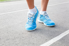 Closeup of runners shoe - running Royalty Free Stock Photos