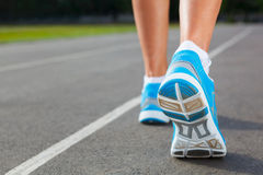 Closeup of runners shoe - running Royalty Free Stock Image