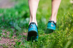 Closeup of running shoes of woman barefoot. Royalty Free Stock Photos