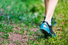 Closeup of running shoes of woman barefoot. Stock Photography