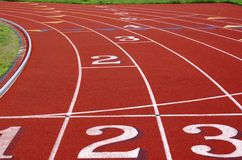 Closeup on running track Royalty Free Stock Photos