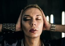 Closeup of Russian drag queen Royalty Free Stock Images
