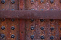 Closeup of rusted riveted texture on old locomotive royalty free stock photos