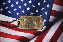 American flag and text memorial day in a dog tag Stock Images