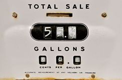Old gas pump meter. Closeup of a Rusty Old Gasoline Pump when gas was 33 cents a gallon royalty free stock photo