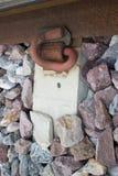 Closeup of rusty railroad. Close-Up of a Rail, a Rail Line, and a Concrete Sleeper Stock Photos