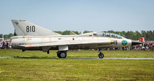 Closeup for Saab 35 Draken on a runway Royalty Free Stock Photography