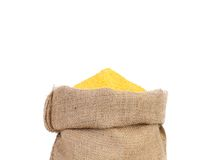 Closeup of sack with corn flour. Stock Photography