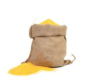 Closeup of sack with corn flour. Royalty Free Stock Photos