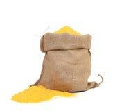 Closeup of sack with corn flour. Royalty Free Stock Photos