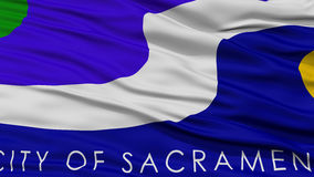Closeup Sacramento Flag. Capital of California State, Flying in the Wind Stock Photo