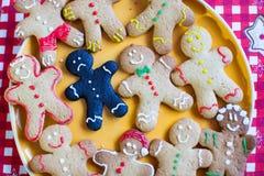 Closeup of a sad burnt Christmas gingerbread Royalty Free Stock Photos