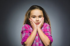 Closeup sad girl with worried stressed face expression royalty free stock image