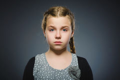 Closeup sad girl with worried stressed face expression royalty free stock photos